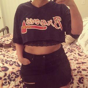 Reclaimed Vintage Tops - Cropped Atlanta Braves shirt
