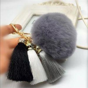 Fur ball & Tassel Key Chain