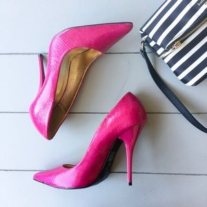 C. Label Shoes - C Label Fuchsia Snakeskin Pumps
