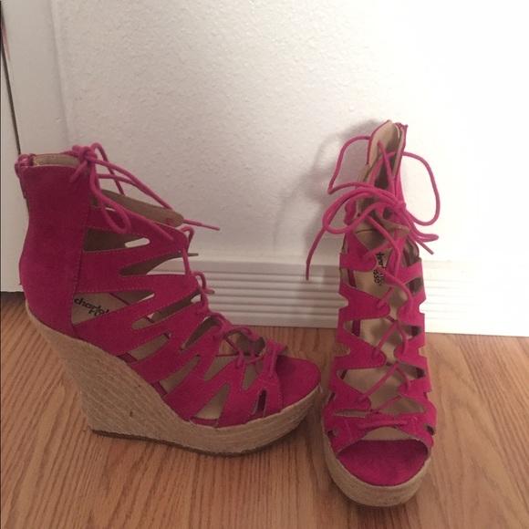 99d375bde49 ... shoes platform fuchsia wedge sandals new poshmark ...