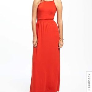 Old Navy Orange Maxi Jersey Dress
