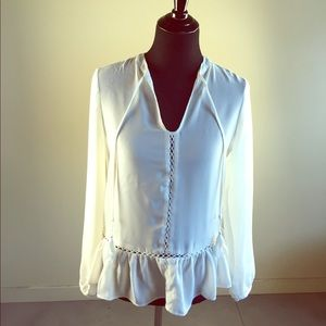 Tops - Sheer White Long Sleeve Top