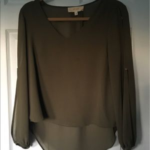 Nasty gal green blouse with open cut sleeves