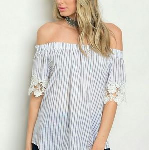 Tops - Striped lace off the shoulder top