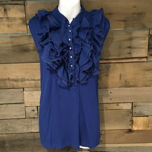 august silk Tops - August Silk royal blue ruffled top. Size 1X
