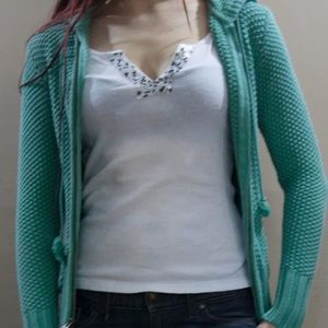 Seafoam knit hoodie