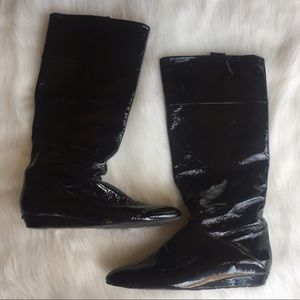 Delman Shoes - Delman Patent Leather Black Knee High Boots
