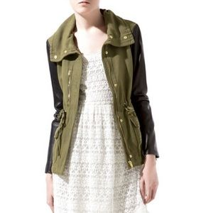 Zara Jackets & Blazers - ZARA Safari Military Green Leather Sleeves Jacket