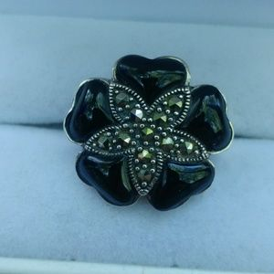 Sterling onyx and marcasite flower ring