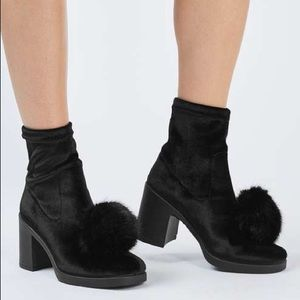 Topshop Shoes - TopShop Belle Furry Pom Booties