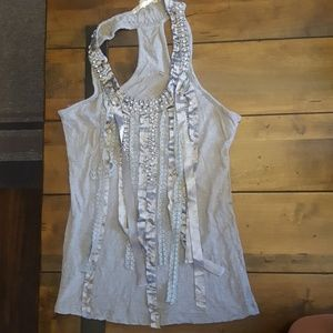 Rags and Couture Tops - Gray Buckle Tank Top