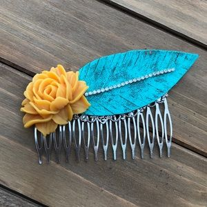 Abbie's Anchor Accessories - Boho Leather Feather & Mustard Rose Hair Comb