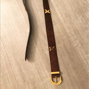 Paloma Picasso Suede Chocolate Brown Belt