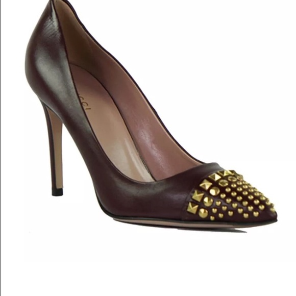 Gucci Burgundy Leather Coline Studded
