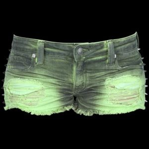 Frankie B. Pants - Frankie B Underworld Dirty Green Spiked Jean Short