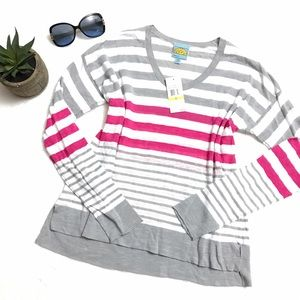 C&C California Tops - C&C California Stripe Top Spanish Needle Pink Gray