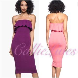 Callie Lives Dresses & Skirts - Purple Magenta Salsa Off The Shoulder Midi Dress