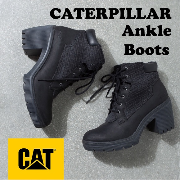 Black Caterpillar Heeled Platform Ankle Boots