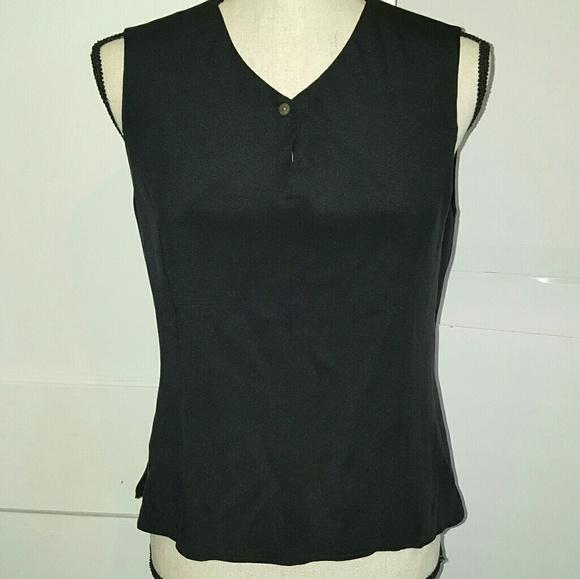 bd2e37a11843f Talbots pure silk sleeveless black top