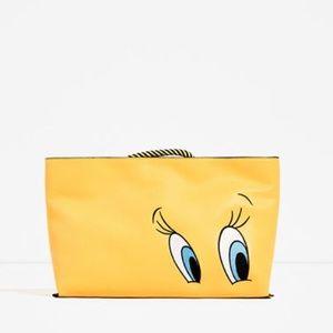 Zara Bags - Zara Looney Tunes tweety bird clutch