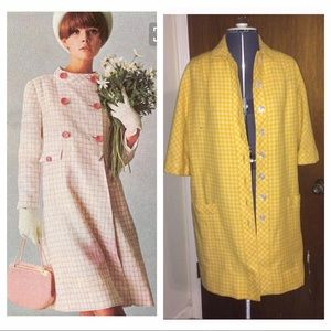 Vintage yellow gingham coat