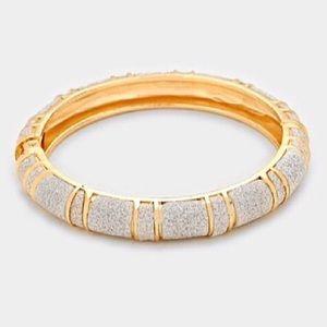 Hinged glitter bangle bracelet