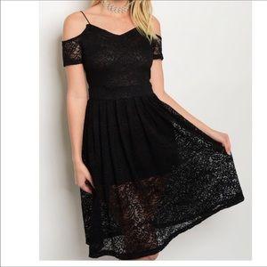 Dresses & Skirts - Black Lace Cold Shoulder Dress