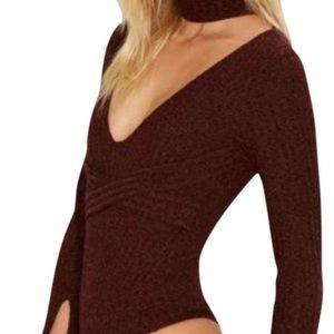 lavish alice Tops - NWT Nasty Gal Burgundy Knit Bodysuit