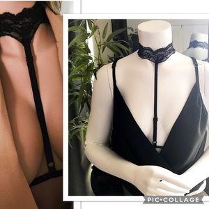 Tops - Black Lace Choker Body Harness