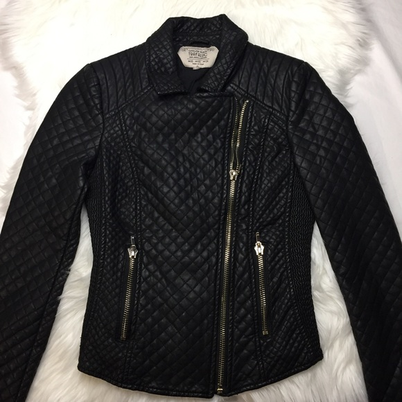 59 Off Zara Jackets Blazers Zara Quilted Faux Leather Black Motorcycle Jacket From Joelle 39 S