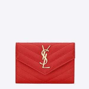 🆕YSL Saint Laurent • Red Small Wallet