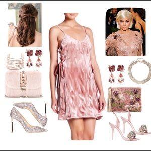 Blush Velvet Lace-Up Dress