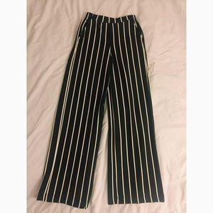 Pants - Bershka black & white striped trousers size XS
