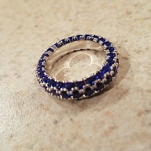 Jewelry - New WGP Italian-Cut Blue CZ Eternity Ring Size 5.5
