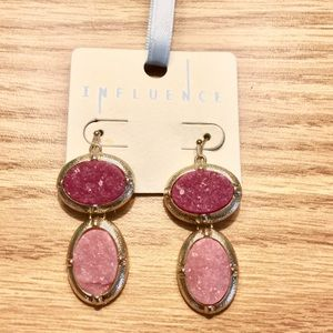 Gold & Pink Crystal Geode Drop Earrings