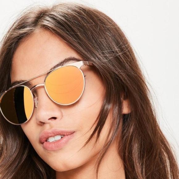 c9ea2ca6f83 NWT Rose Gold Metallic Frame Mirrored Sunglasses
