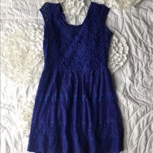 Bright cobalt blue lace dress large