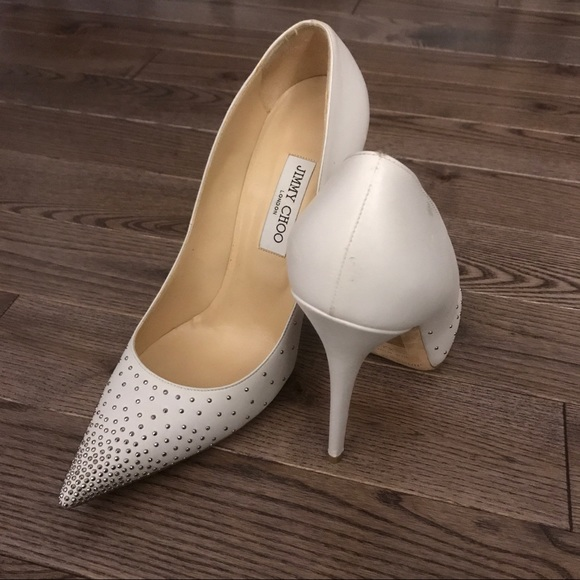 58b269be5a Jimmy Choo Shoes | White Studded Anouk Pumps In Size 42 | Poshmark