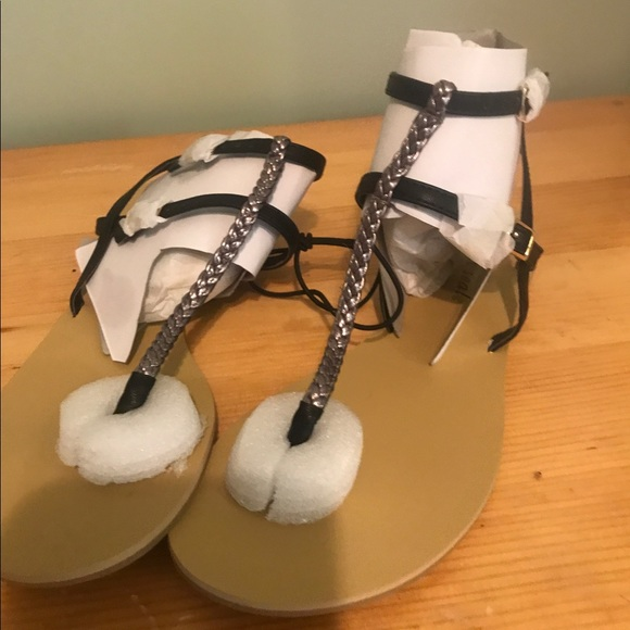 c149f7432b75 Silver and black wet seal strappy sandals