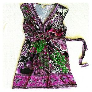 ECI Stretchy Patterned Jewelled Dress