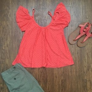 Lucy Love Tops - Coral cold shoulder eyelet top by Lucy love