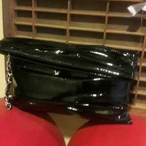 Authentic Onna Ehrlich black patent leather bag