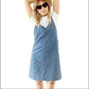 90s Grunge Denim Overall Dress