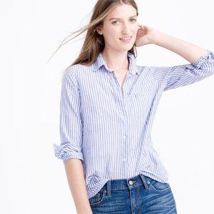 J. Crew striped button down boy shirt blue size 14