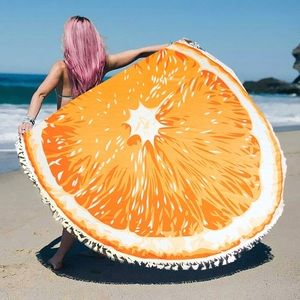 Hannah Beury Accessories - Orange Beach Wrap with Tassel edges