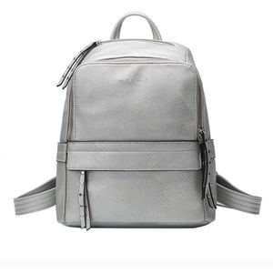 Melie Bianco Handbags - Lacey Backpack in Silver Premium Vegan Leather