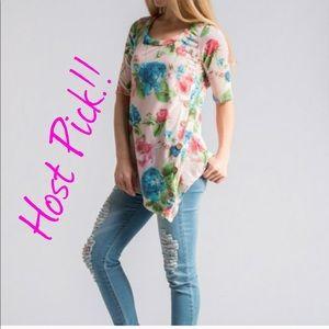Tops - Floral Print Asymmetrical Top