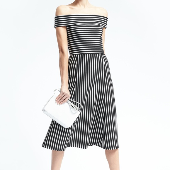 Banana Republic Dresses - Banana Republic Stripe Off the Shoulder Midi Dress