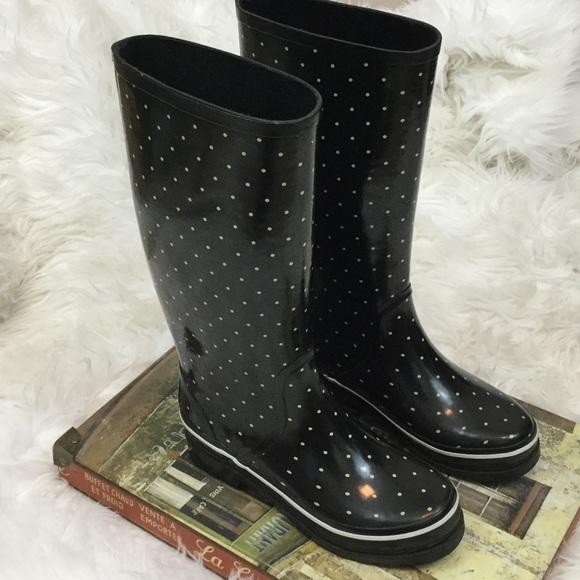 Kate Spade Shoes  New York Black Polka Dot Rain Boots -8380