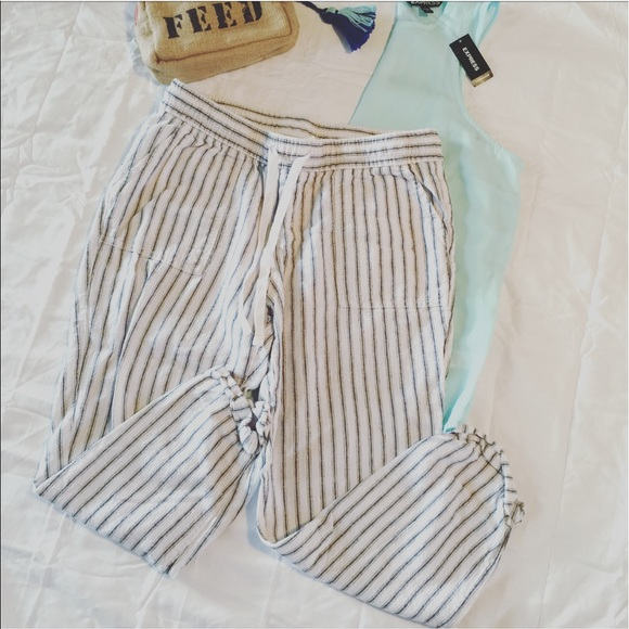 21890c61ad1ff Old Navy Pants | White Striped Linen Cropped | Poshmark